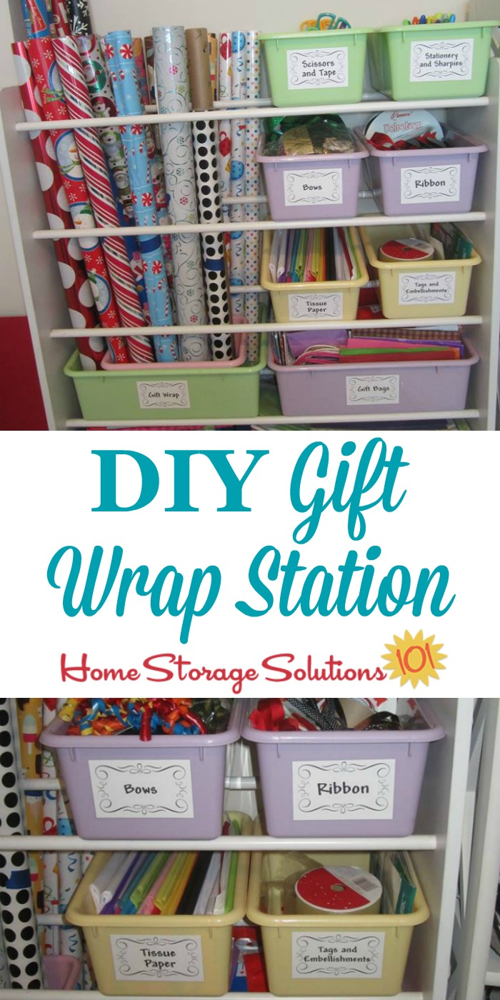 DIY gift wrap station made from an old toy organizer, for storing wrapping paper and other supplies {featured on Home Storage Solutions 101} #WrappingPaperStorage #GiftWrapStorage #HolidayOrganization