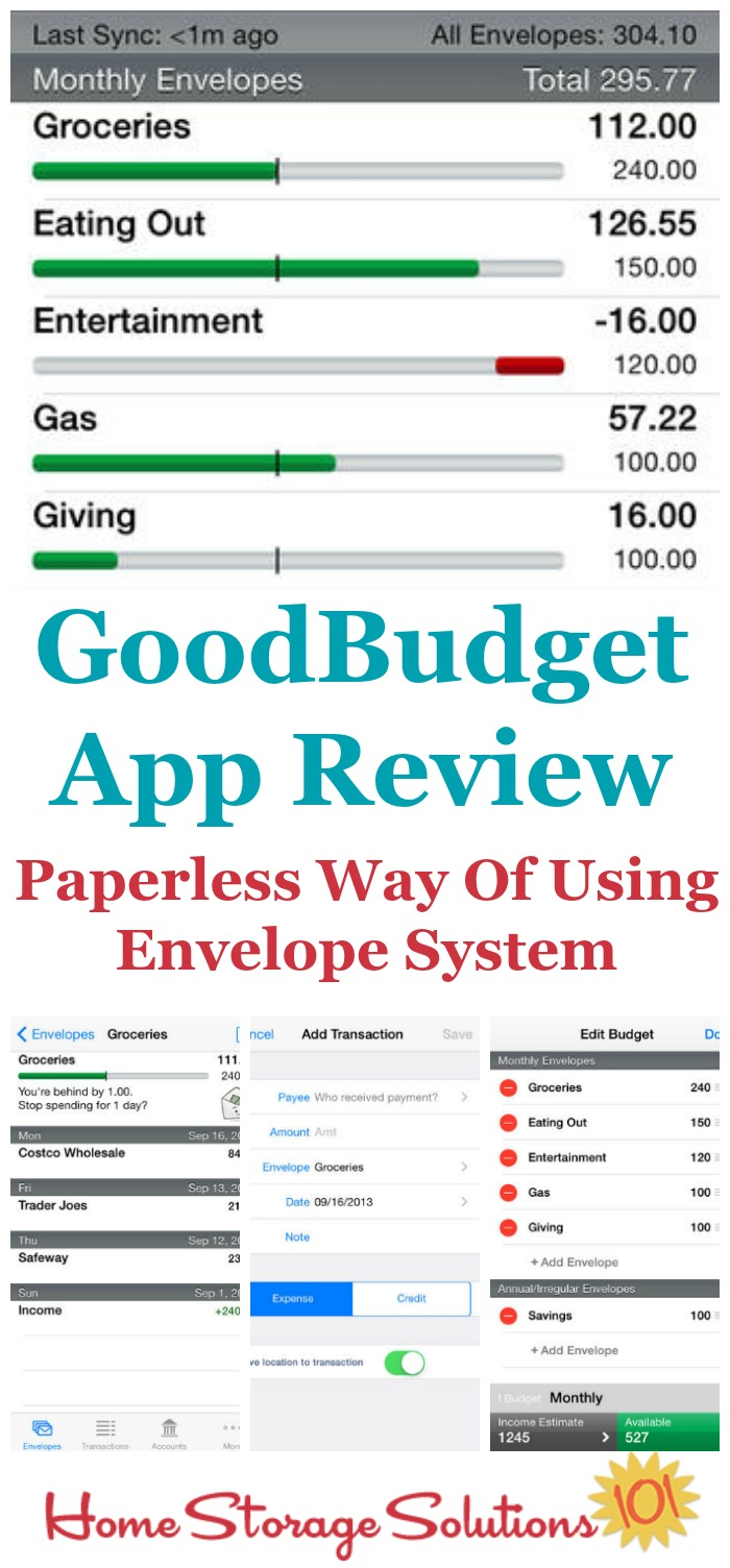 Reviews of the free GoodBudget app, for Apple and Android, that helps you budget using a paperless version of the envelope system {on Home Storage Solutions 101}