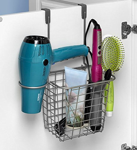 Spectrum over cabinet door hair tool storage basket