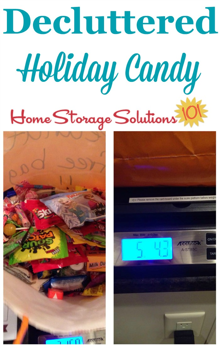Decluttered holiday candy, from Halloween, Thanksgiving and Christmas, that was donated to a local police department {featured on Home Storage Solutions 101}