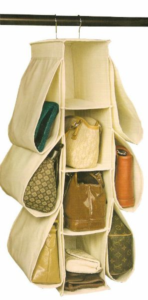 hanging closet purse organizer with pockets
