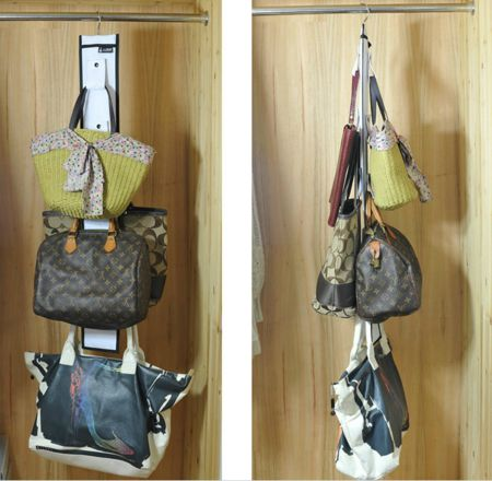 Purse handbag storage ideas solutions for Hooks to hang purses