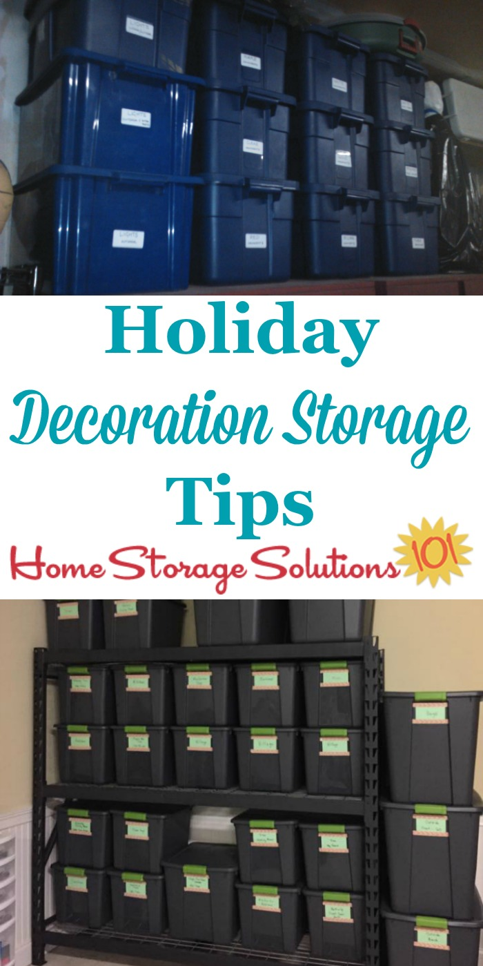 Tips for holiday decoration storage in your home, including photos from readers showing how they've stored this decor for annual use {on Home Storage Solutions 101} #ChristmasStorage #HolidayStorage #HolidayOrganization