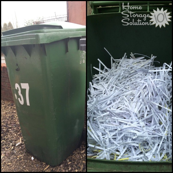 3 days worth of paper shredding takes up a lot of space, but Nicole got all that paper clutter out of her home when working through the #Declutter365 missions {featured on Home Storage Solutions 101}