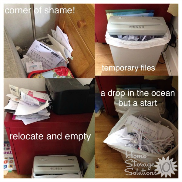 Once you have an area set up for shredding paper, you need to keep your shredding pile under control, or take the time today to declutter those paper piles by shredding them, 15 minutes at a time like a reader, Sally, did {featured on Home Storage Solutions 101}