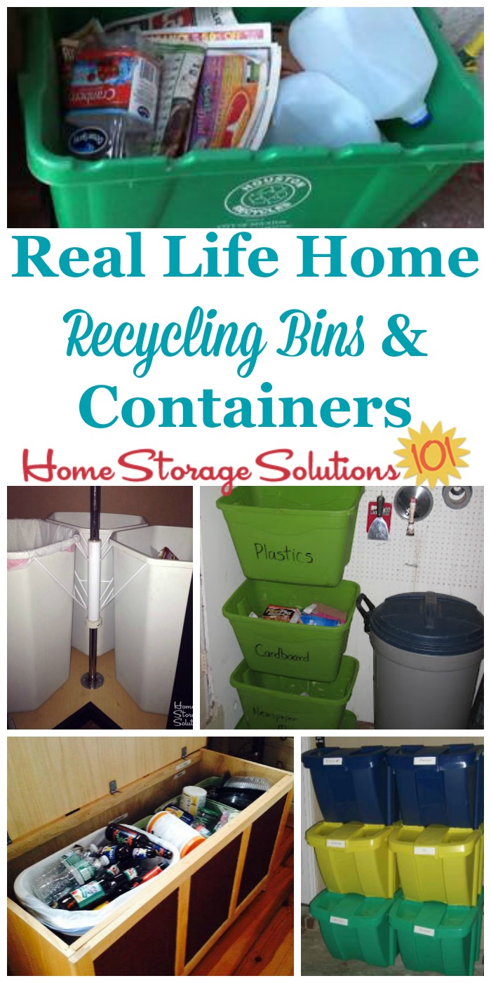 Real life examples of home recycling bins and containers, to see how readers collect their recyclables in their homes {on Home Storage Solutions 101} #OrganizedHome #OrganizingTips #Recycling