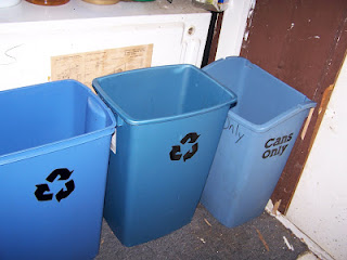 Labeled garbage bins for recycling