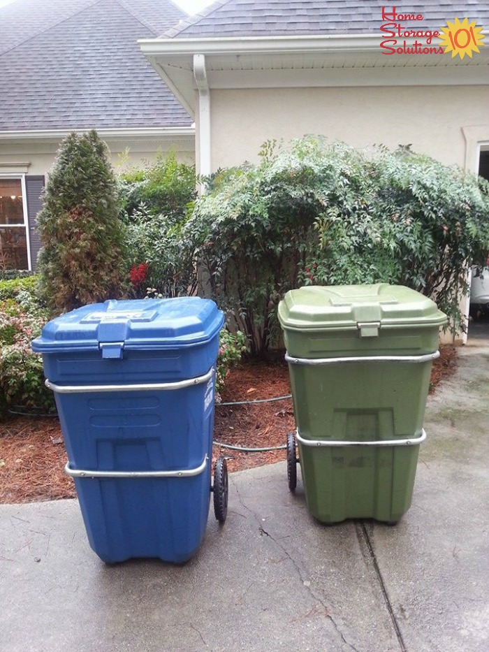 Trash and recycling containers stored outdoors {featured on Home Storage Solutions 101}