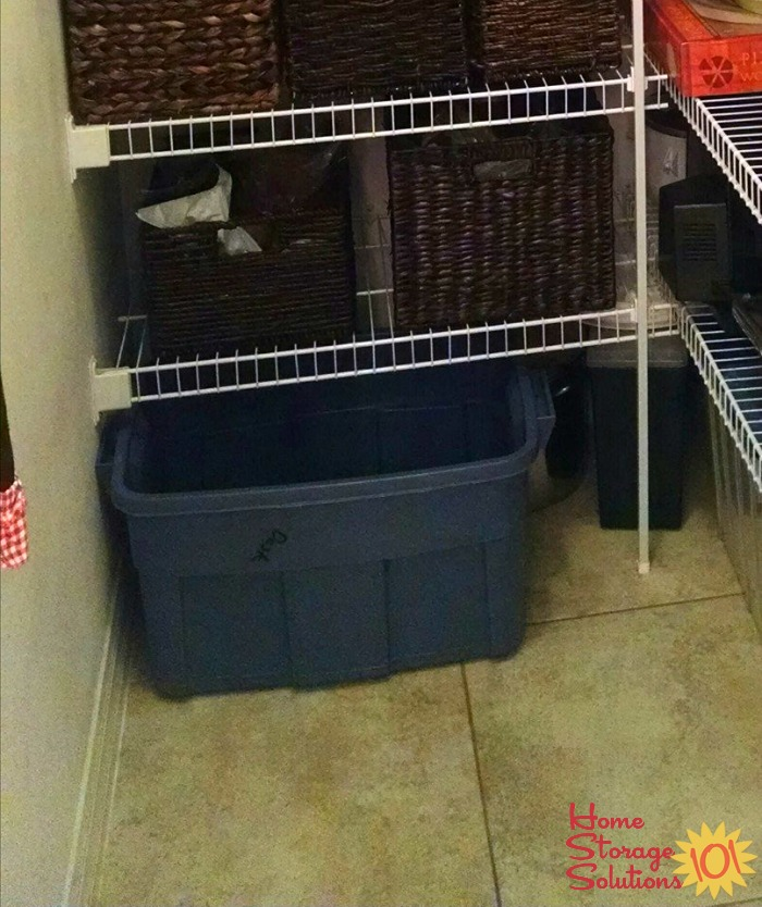 Example of a recycling container held in the pantry {see more home recycling bins on Home Storage Solutions 101}