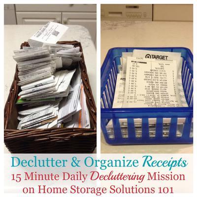 how to declutter organize receipts