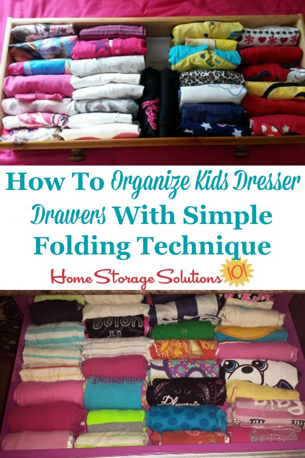 How to organize kids dresser drawers with a simple folding technique for shirts {on Home Storage Solutions 101} #FoldTshirts #HowToFold #ClothesOrganization