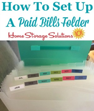 How to set up a paid bills folder