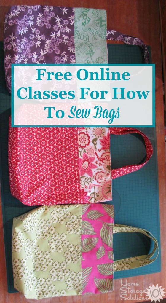 Free online mini-classes for how to sew a bag, including a tote bag, zippered pouch, drawstring bag and bucket bag. There are so many uses for these bags! {featured on Home Storage Solutions 101}