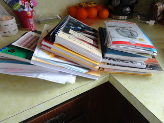 separated pile of just the cookbooks
