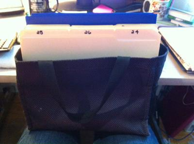 My Tickler File Bag showing tomorrow's date up front as today is already filed in the back