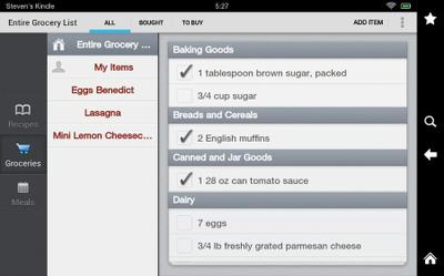 Grocery list making function