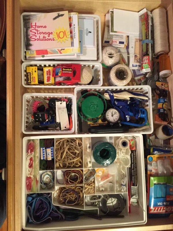 Organized junk drawer, using containers {featured on Home Storage Solutions 101}