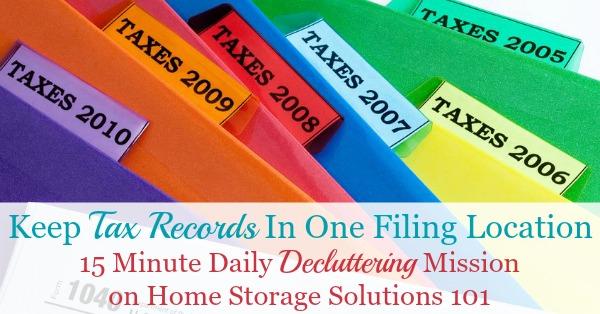 How to organize old tax returns, including how long to keep tax records before decluttering them {on Home Storage Solutions 101}