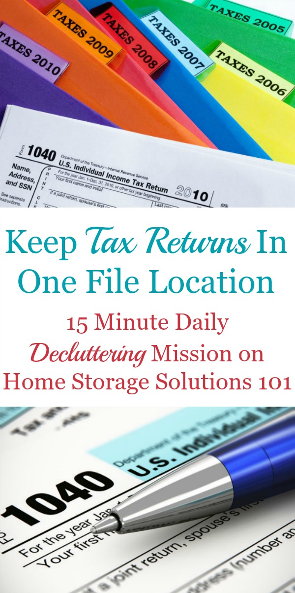 How to organize old tax returns, including how long to keep tax records before decluttering then {on Home Storage Solutions 101}