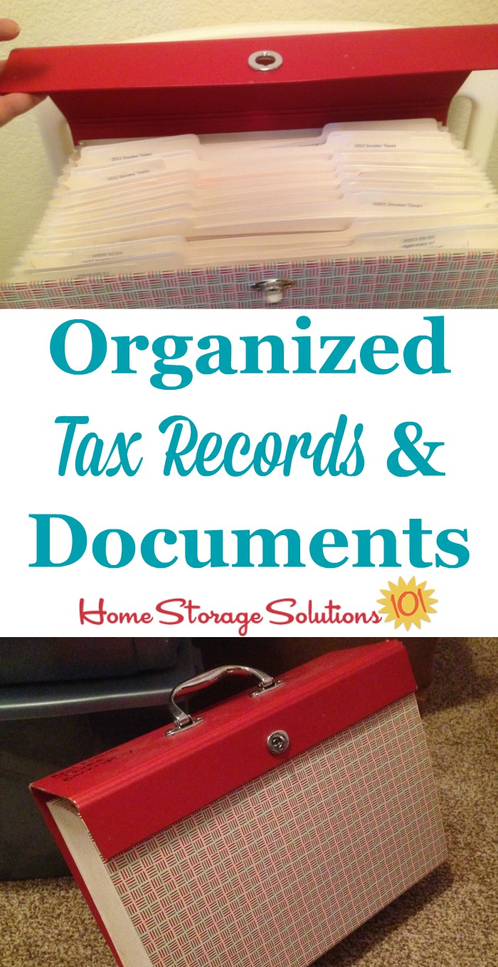 Organized tax records and documents, to show ideas for filing system and storage of old tax returns {featured on Home Storage Solutions 101}