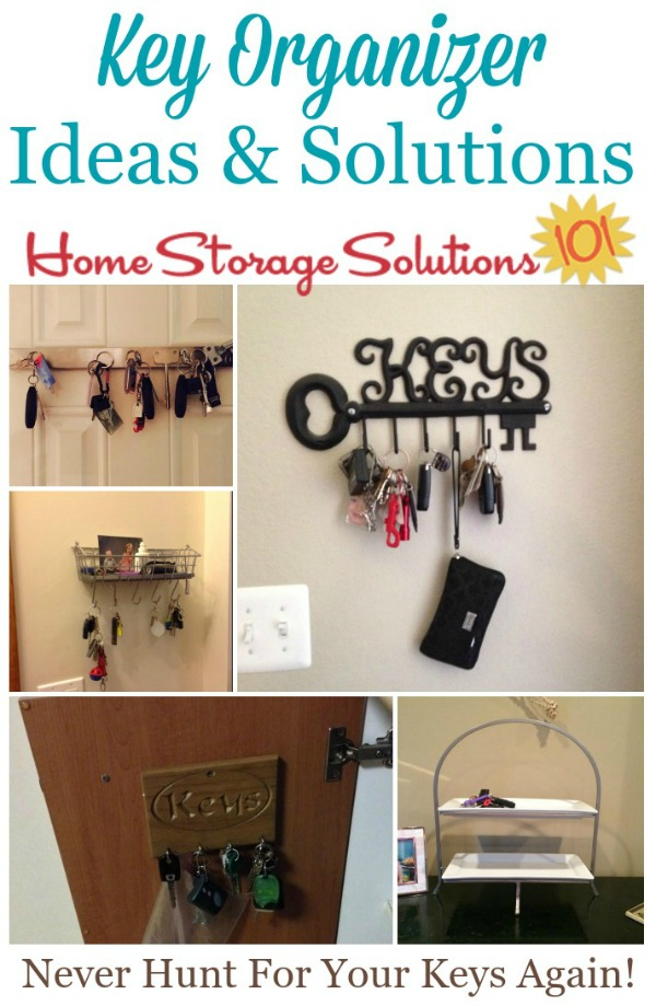 Lots of key organizer ideas and solutions so you'll never have to hunt for your keys again {on Home Storage Solutions 101} #KeyOrganizer #KeyOrganization #KeyStorage