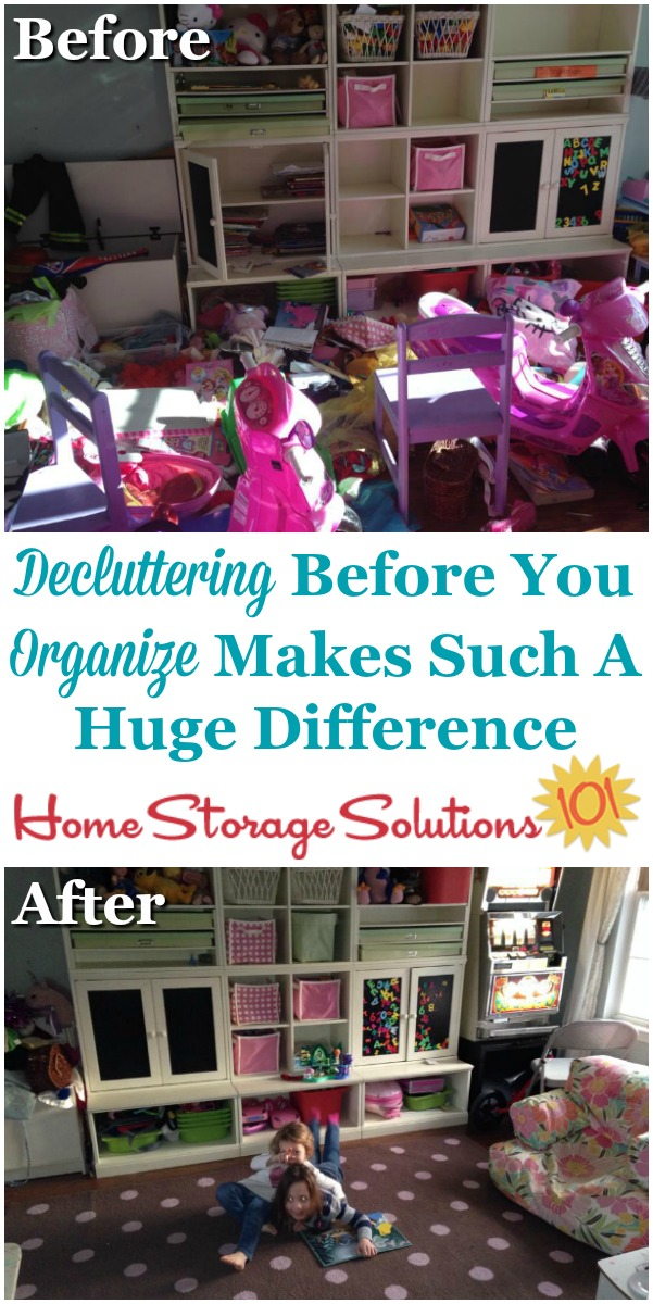 How decluttering your playroom before you begin to organize it makes such a huge difference in the results you get {on Home Storage Solutions 101} #DeclutterPlayroom #Decluttering #OrganizingTips