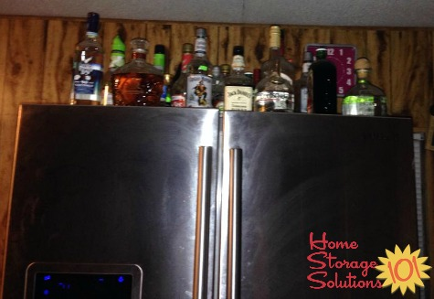 alcohol storage on top of refrigerator