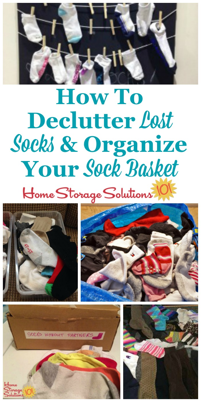 How to declutter lost socks and organize your sock basket and keep it from overflowing {on Home Storage Solutions 101} #LaundryTips #LaundryOrganization #LaundryRoomOrganization