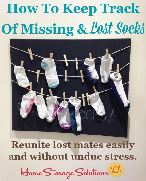 Tips and tricks for how to keep track of missing and lost socks, including multiple ways to hold unmated socks while looking for the lost one {on Home Storage Solutions 101} #LaundryTips #LaundryOrganization #SockOrganization