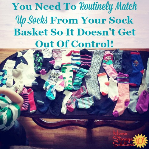 Laundry tip: you need to routinely match up socks from your sock basket so it doesn't get out of control {featured on Home Storage Solutions 101} #LaundryTips #LaundryOrganization #SockOrganization