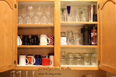 Easy to reach mugs & glasses close to the sink and coffee station
