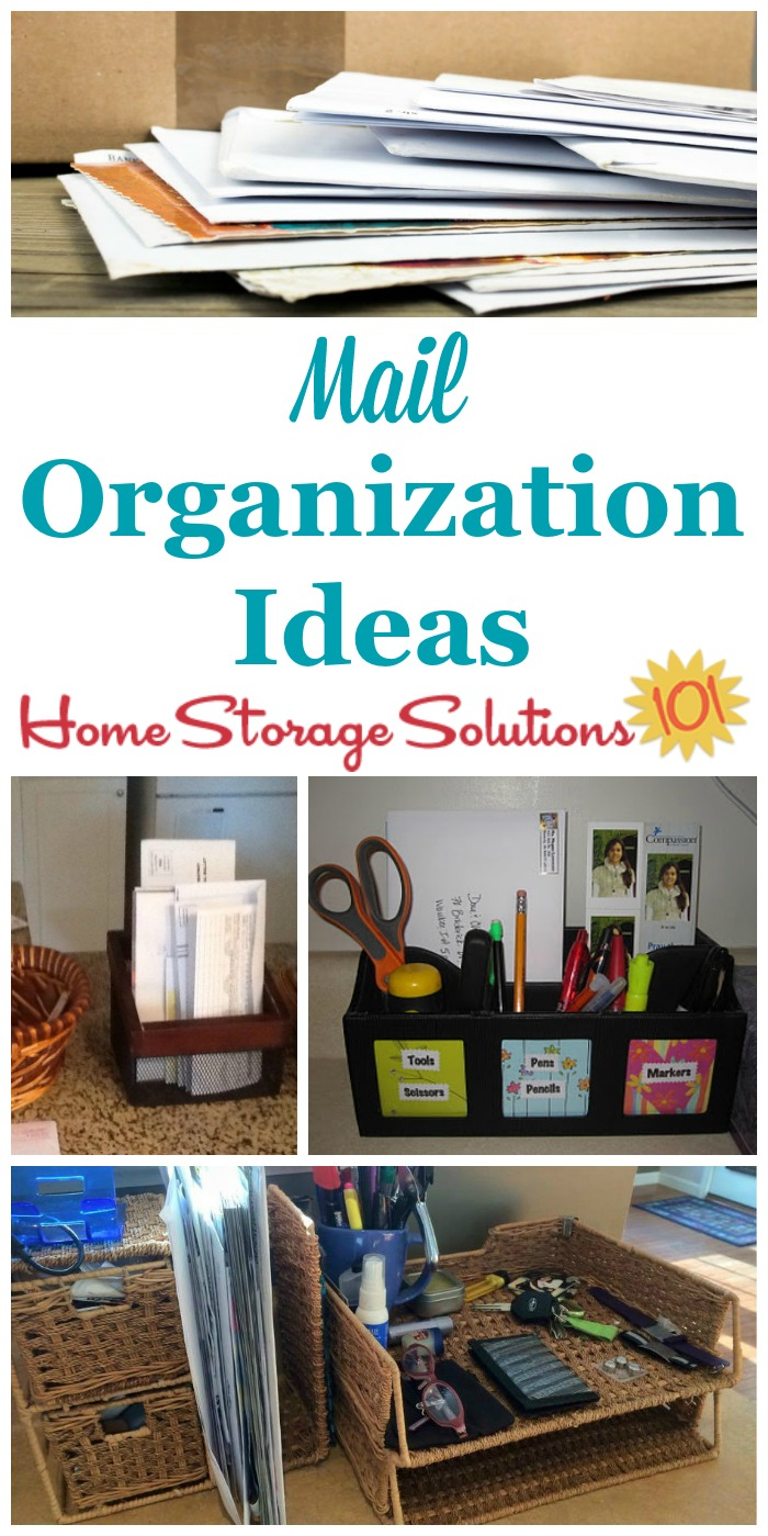 Mail organization ideas for your home, with a place to hold your incoming mail as well as mailing supplies {on Home Storage Solutions 101} #MailOrganization #OrganizeMail #PaperOrganization