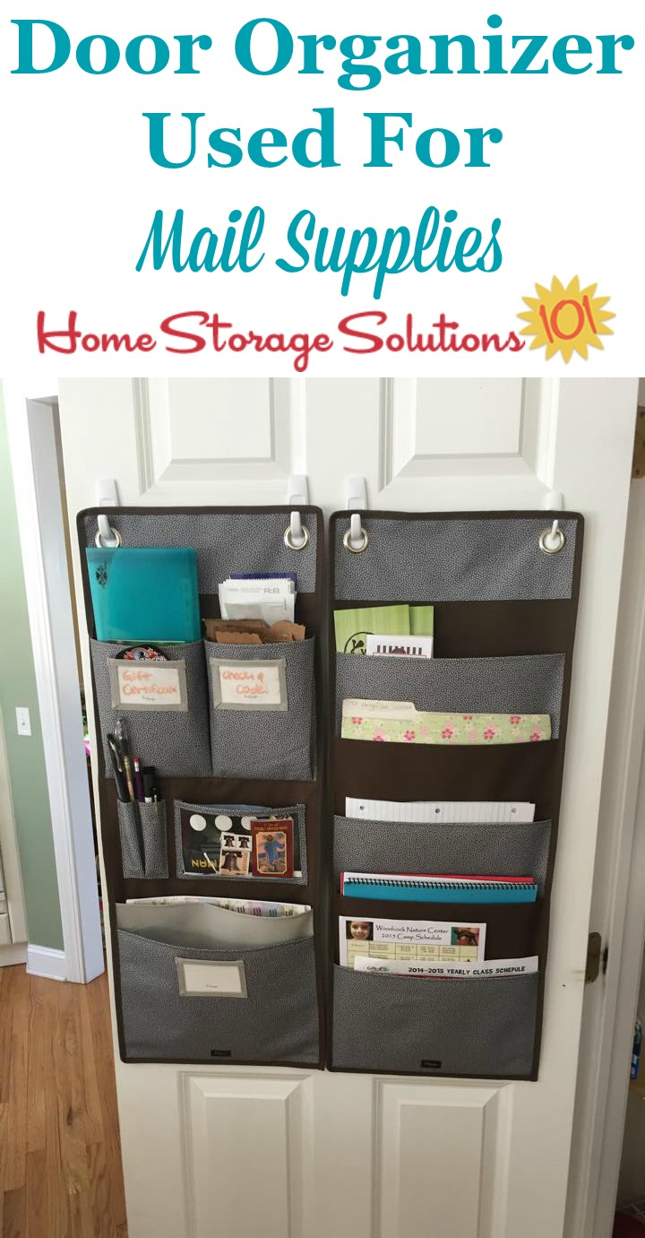 Door organizer, mounted inside pantry door, to hold mailing supplies as part of the home mail organizer center {featured on Home Storage Solutions 101} #MailOrganization #PaperOrganization #OrganizeMail
