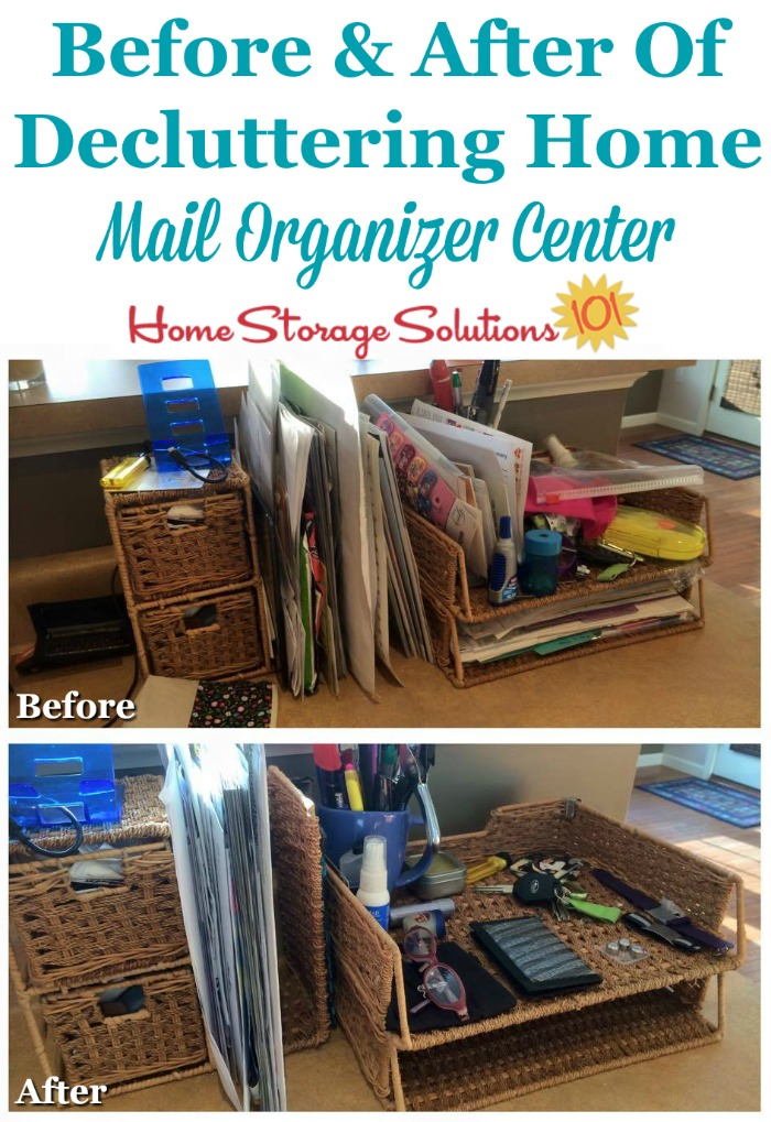 Before and after when #decluttering home mail organizer center {featured on Home Storage Solutions 101} #MailOrganizer #Declutter