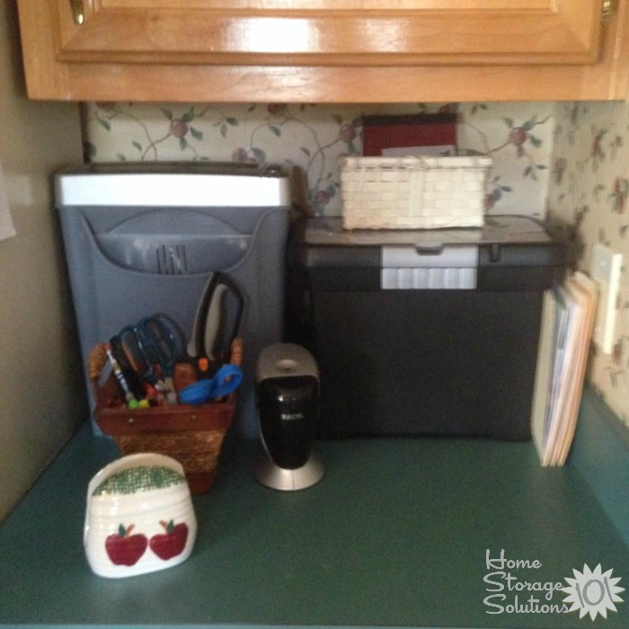 Home mail organizer center, including small file box and home shredder {featured on Home Storage Solutions 101}