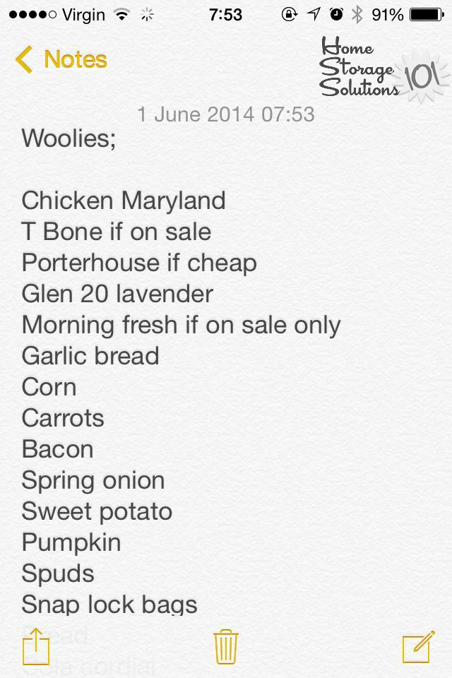 Make a grocery list right on your smart phone using the notes app {featured on Home Storage Solutions 101}