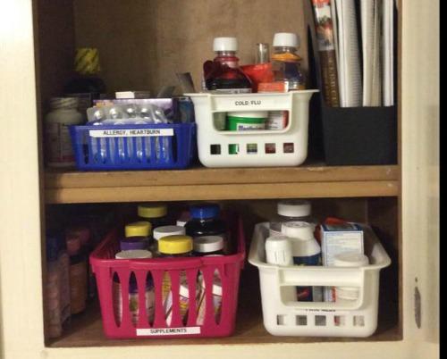 medication organizer baskets