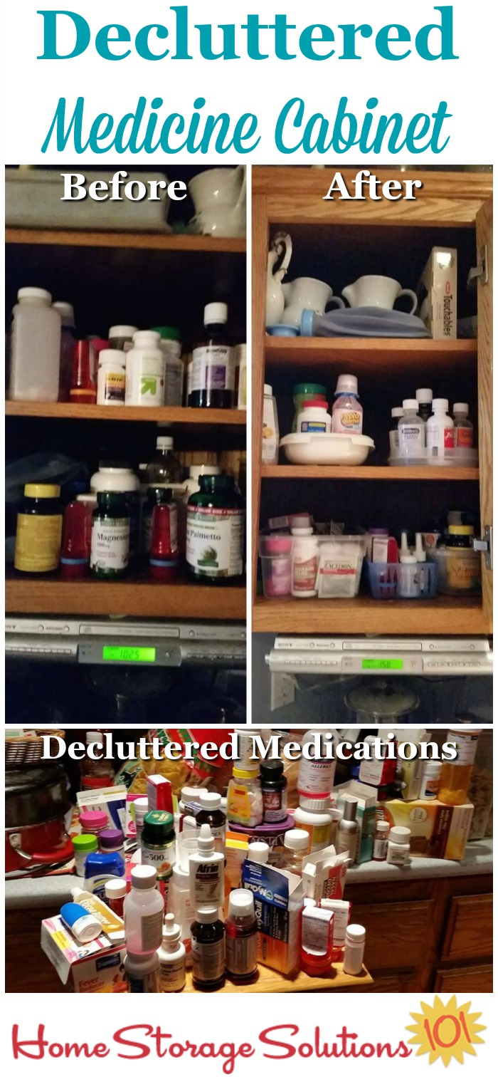 Make sure to #declutter your medicine cabinet, no matter where it's located, such as in the bathroom or kitchen, at least once a year and get rid of expired or unused medications {on Home Storage Solutions 101} #DeclutterKitchen #MedicineCabinet