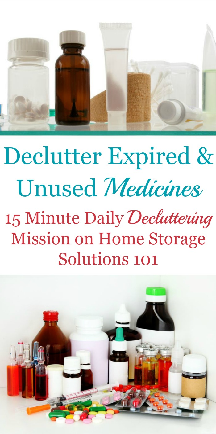 How to #declutter expired medicines and first aid supplies from your home, including photos from other readers who've already done this task {one of the #Declutter365 missions on Home Storage Solutions 101} #Decluttering