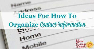 Ideas For How To Organize Contact Information {Both Paper