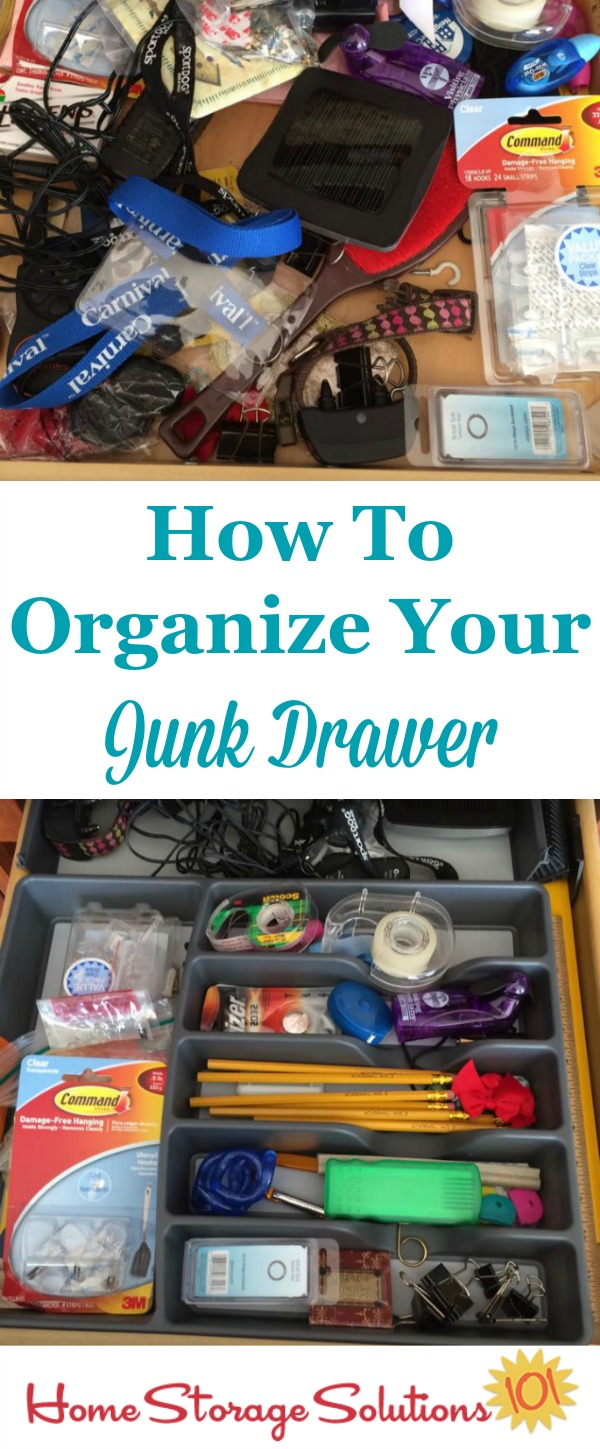 How to organize your junk drawer, with lots of real life examples from those doing the #Declutter365 missions on Home Storage Solutions 101.