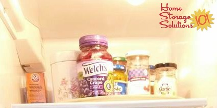 Use a lazy susan in your refrigerator to group items together and keep them easily accessible without having to move everything to get to something in the back {featured on Home Storage Solutions 101}