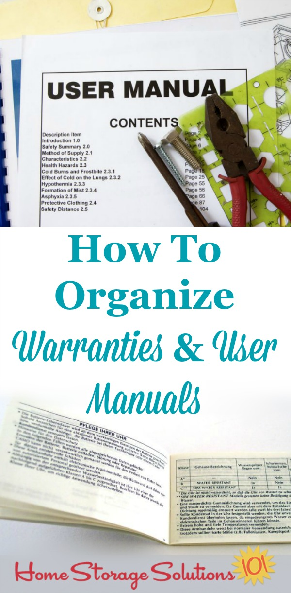 How to organize warranties and manuals in your home in three ways, in your home filing system, in binders, or digitally {on Home Storage Solutions 101}