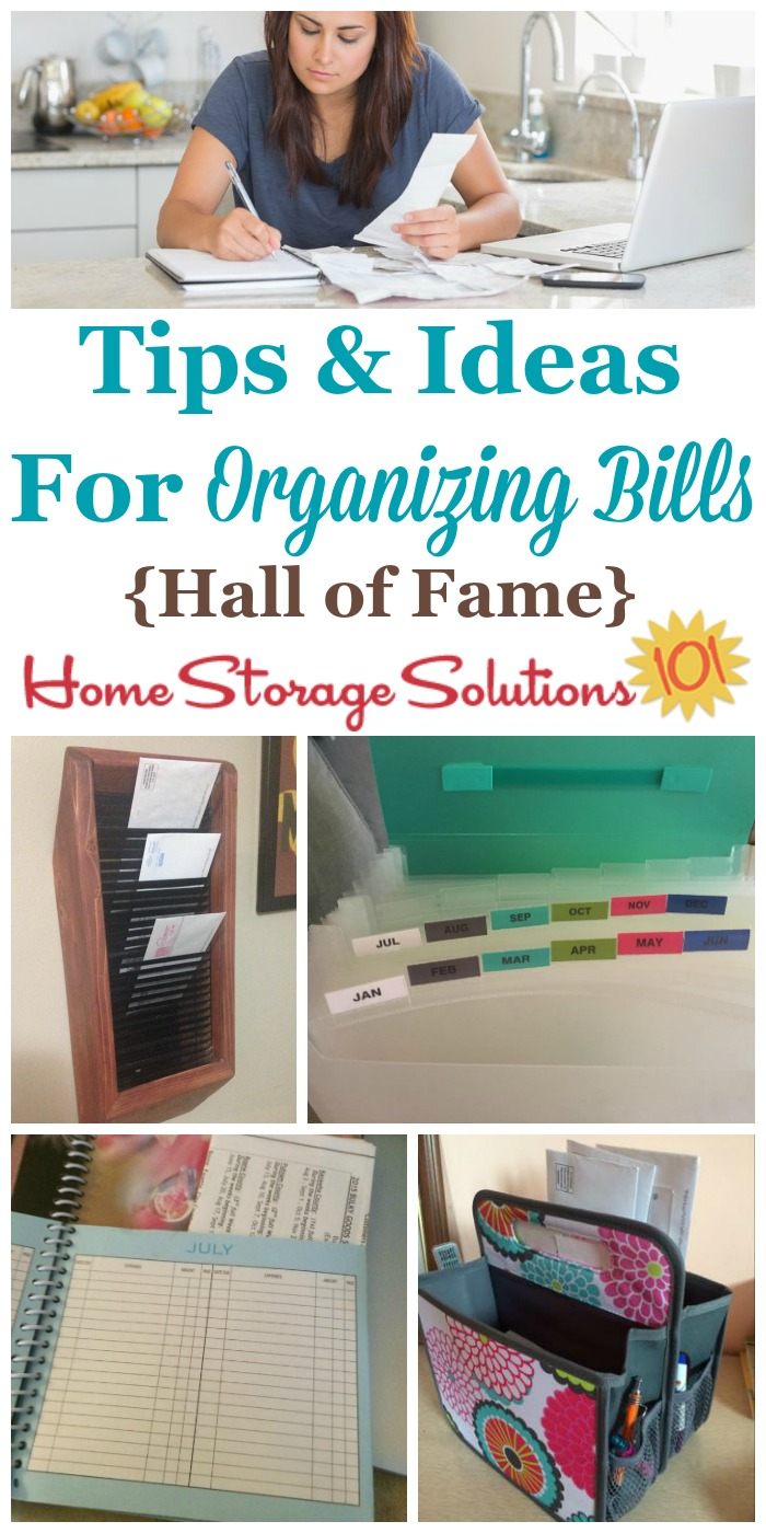 Lots of tips and ideas for organizing bills, as shown by real people who made sure to find bills, pay them on time and file the papers afterward {on Home Storage Solutions 101} #OrganizingBill #BillOrganization #OrganizeBills