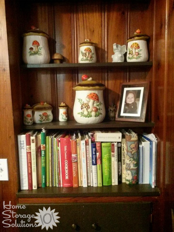 Add your cookbooks to your dining room hutch or shelves as pretty decor {featured on Home Storage Solutions 101}