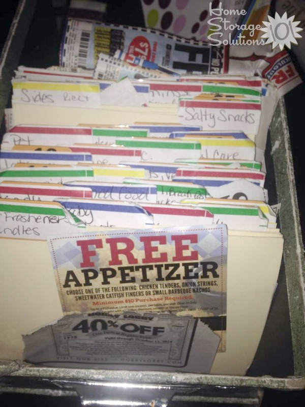 Organizing coupons using file box and manila file folders {featured on Home Storage Solutions 101}