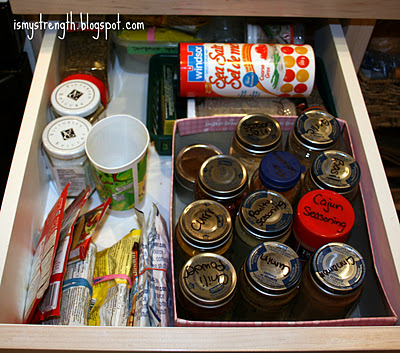 Spice drawer with homemade organizers