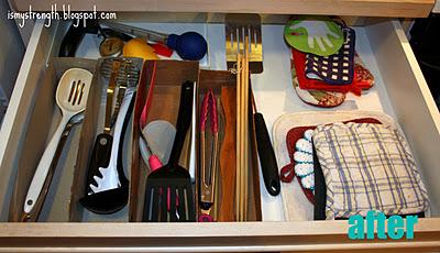 Homemade kitchen utensil organizers