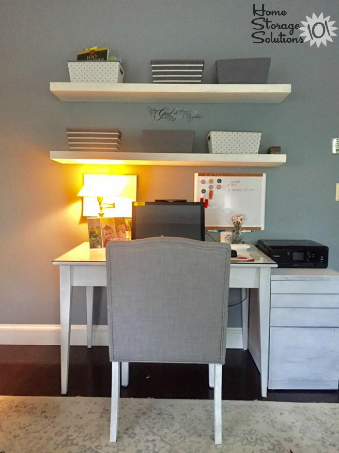 Organized home office space with floating shelves for extra storage {on Home Storage Solutions 101}