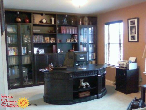 Dining room that was converted into a home office {featured on Home Storage Solutions 101}